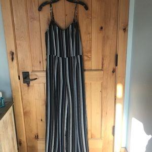 Monteau Navy Striped Jumpsuit